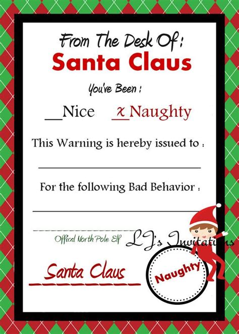 elf on the shelf warning letter from santa printable elf on the shelf boy inspired santa s naughty warning notice
