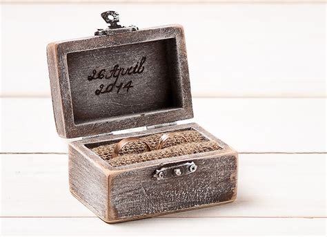 personalized wedding wooden ring box rustic ring bearer pillow