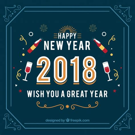 new year banner meaning vintage new year 2018 background in blue vector