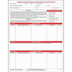 hazmat employee training record amp certification form