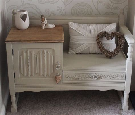 chalk paint shabby chic shabby chic oak telephone table seat painted in