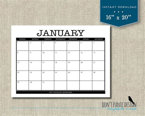 large printable monthly calendar family