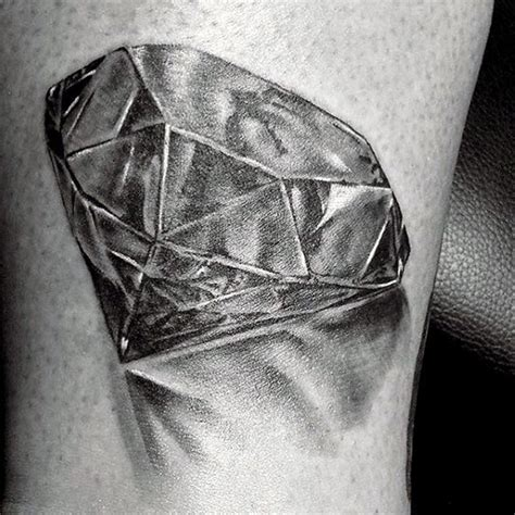 pure ink tattoo 3d like black ink on leg