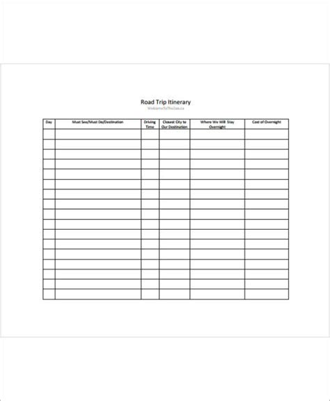 road trip planner template 11 travel planner sles templates pdf