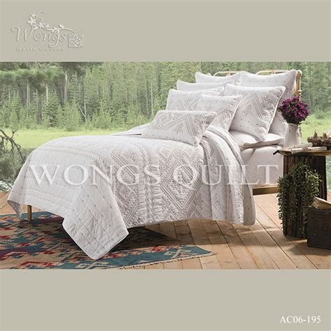 Handmade Quilted Bedspreads - white embroidery quilts king plus size240 260cm cotton