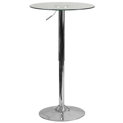 bar height glass table glass cafe pub table with adjustable height indoor