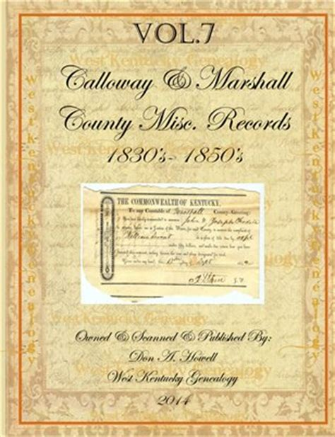 Calloway County Court Records Calloway County Ken Vol 7 1830 S 1850 S Calloway Marsh Magcloud