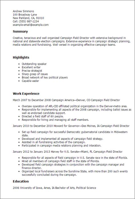 field resume templates professional caign field director templates to showcase