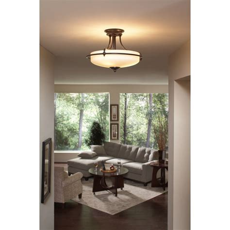 Quoizel GF1717PN Griffin 3 Light 17 Inch Semi Flush Mount, Palladian Bronze Close To Ceiling