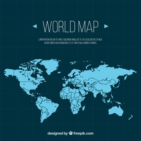 flat world map vector blue world map in flat design vector free