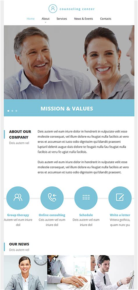 Counseling Responsive Website Template Tablet Layout Counselling Websites Templates