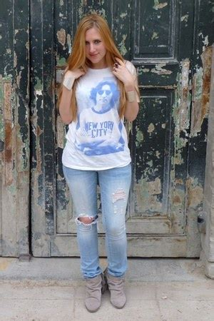 Guess Grey Destroyed grey zara boots destroyed guess h m ts shirts quot lennon quot by manaa chictopia