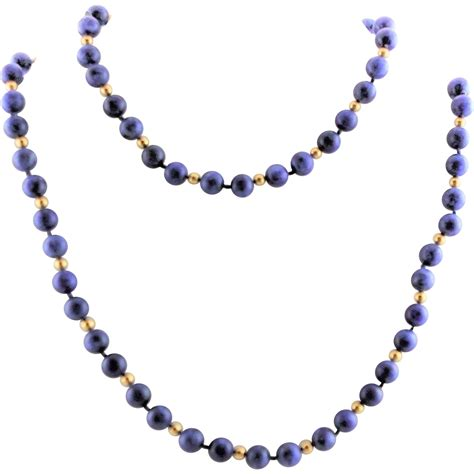 blue lapis bead necklace true vintage blue denim lapis 14k gold bead necklace