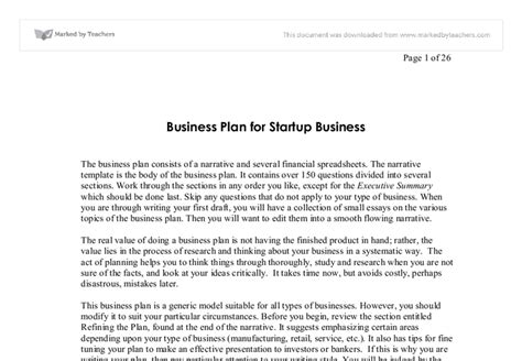 Starting A Business Essay by Business Plan For Startup Business Business And Administrative Studies Marked By