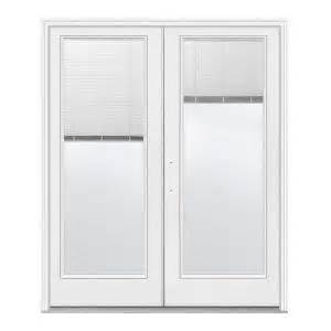 wen steel french patio inswing jeld wen steel french patio door with blinds at home depot