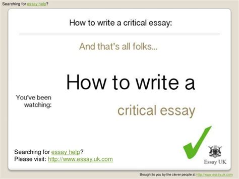 Critical Writing Essay Topics by The Critical Essay