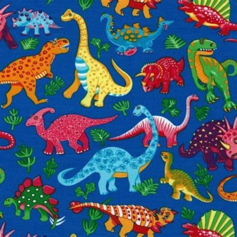 quarter dinosaur on blue cotton quilting fabric 50