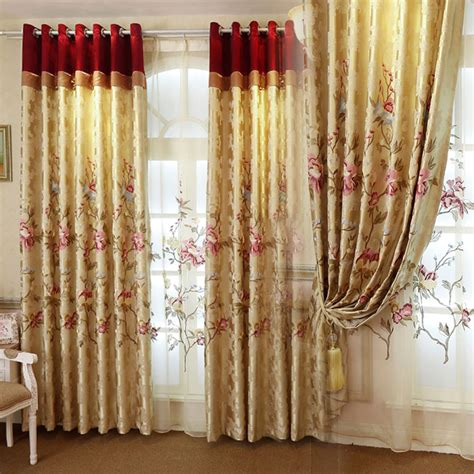 Living Room Curtains Gold Gold Floral European Style Blackout Curtain For Living Room