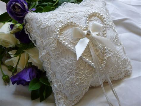 pansy pearl heart design wedding ring cushion in ivory