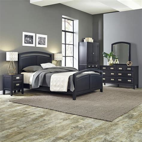 home styles prescott  piece black queen bedroom set