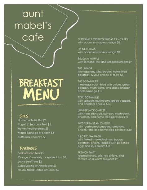 breakfast menu templates free 1000 images about breakfast menu format on