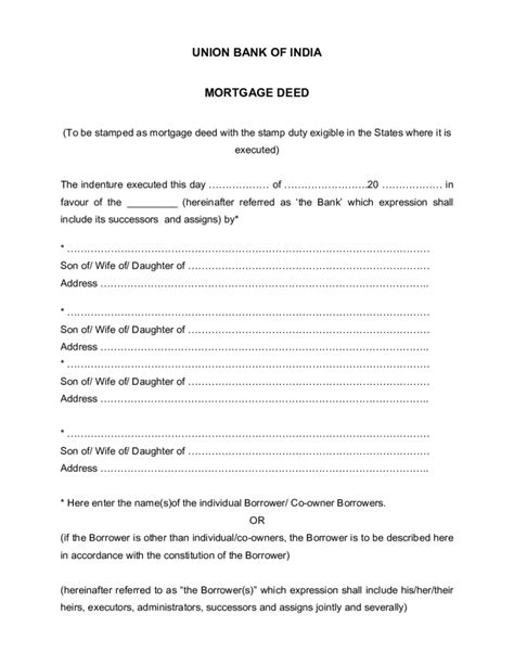 Template Of Mortgage Deed Free Download Mortgage Deed Template