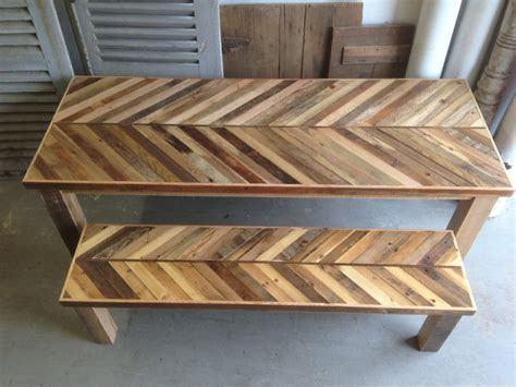 Wooden Kitchen Table With Bench by Reclaimed Pallet And Barn Wood Kitchen Table With Matching