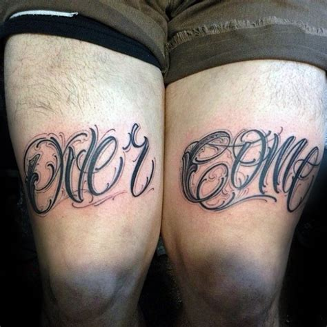 knee tattoo lettering 60 strength tattoos for men masculine word design ideas