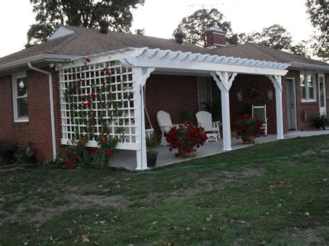 10 x 24 vinyl pergola attached to house with custom