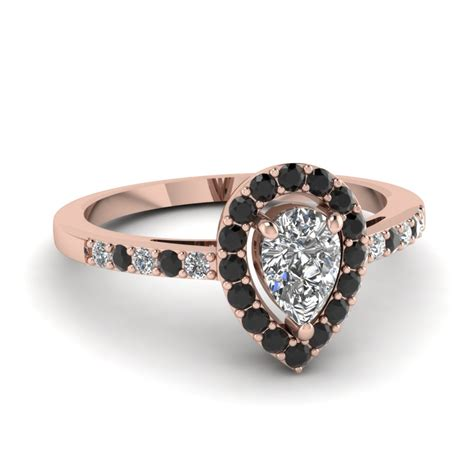 7 Engagement Rings From Since1910 by Teardrop Halo Engagement Ring With Black In 14k