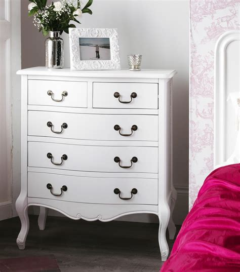 Shabby Chic White 5 Drawer Chest Bedroom Furniture Direct White Shabby Chic Furniture