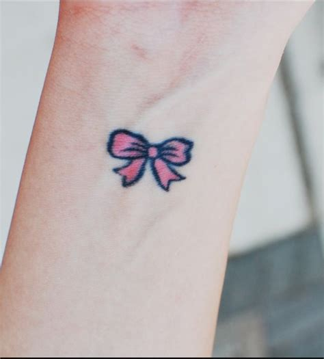 small bow tattoo pink bow wrist abc tattoos