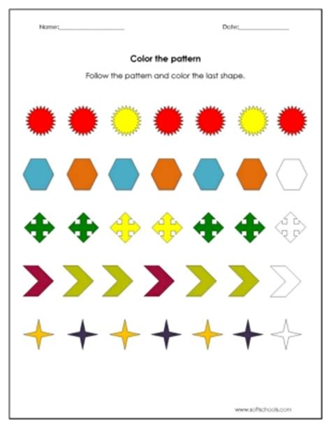 pattern recognition for numbers color the pattern worksheet worksheet