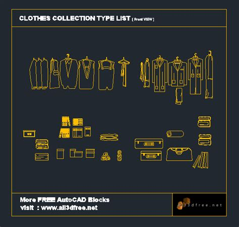 Kitchen Cabinet Door Materials by Autocad Blocks Clothes Collection All3dfree Net