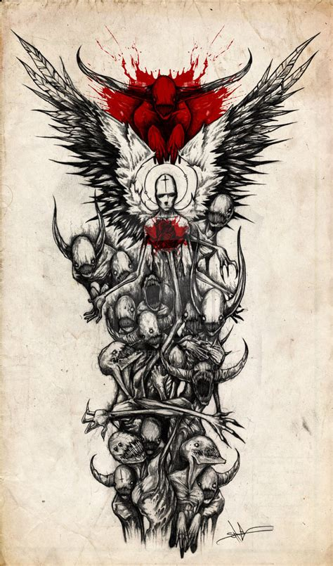 demon tattoo sleeve designs sleeve by shawncoss on deviantart