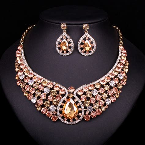buy indian jewelry online latest indian fashion bridal aliexpress com buy new fashion crystal necklace earrings
