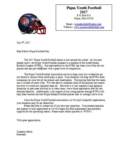 Sponsorship Letter For League Piqua Youth Football Association The Purpose Of This Organization Shall Be To Provide Promote