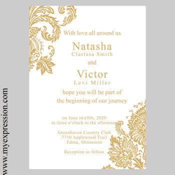 Golden Wedding Invitation Templates by Gold Invitations Template Best Template Collection