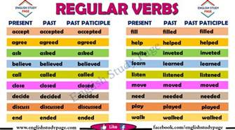 regular verbs list study page