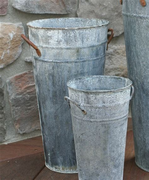 Tall Narrow Vases Vintage Weathered French Flower Bucket Aged Zinc Tall