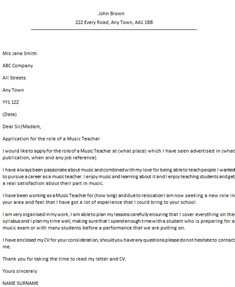 covering letter format for teaching application cover letter exle icover org uk