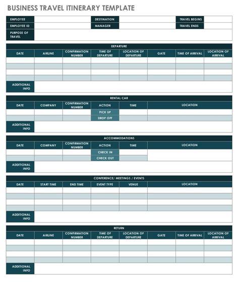 Free Itinerary Templates Smartsheet Flight Itinerary Template