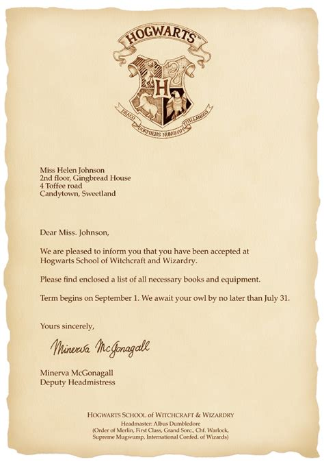 Acceptance Letter To Hogwarts Generator Hogwarts Letterhead Www Pixshark Images Galleries With A Bite