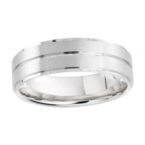 palladium 950 6mm brushed polished finish wedding ring