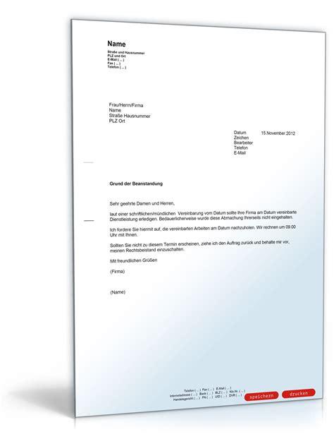 Vorlage Verzug Musterbrief Beanstandung An Eine Handwerksfirma Muster Vorlage Zum