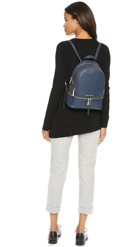 Michael Kors Rhea Backpack michael michael kors rhea backpack navy in blue lyst