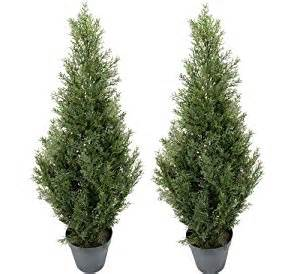 Outdoor Potted Trees Two Pre Potted 3 Artificial Cedar Topiary