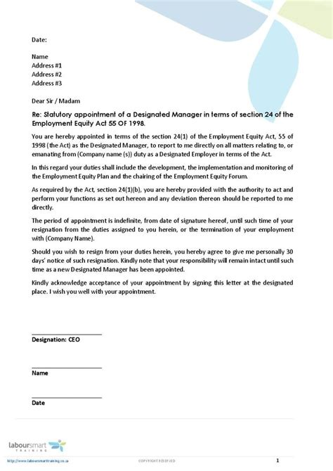 Appointment Letter Format For Quality Manager Appointment Letter Of Designated Ee Manager Document Labour South Africa Pdf