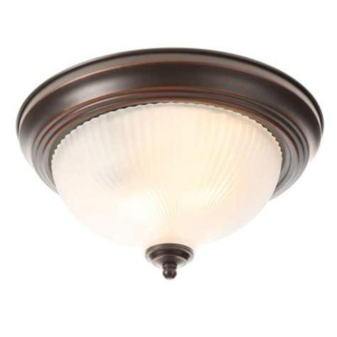 flush light fixture hton bay 2 light rubbed bronze flushmount fzp8012a