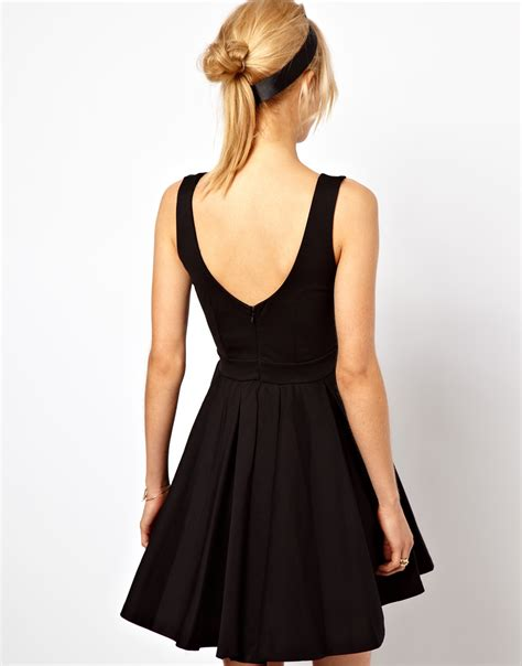 asos asos structured skater dress with gold belt in purple